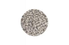 Dywan Obsession Naturline STEPSTONE 740 STONE ROUND 120x120, 160x160cm gruby wełna filcowana kamienie okrągły szary
