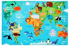 Dywan Obsession Kids Fashion TORINO KIDS 233 WORLD MAP kolorowy mapa świata miękki poliester chenille