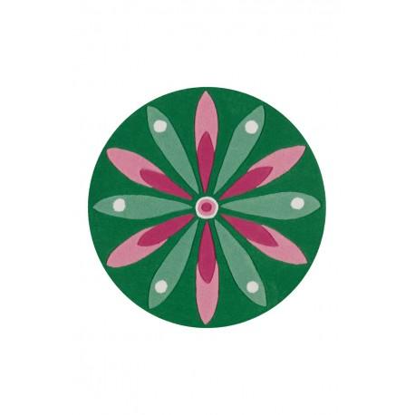 Dywan Arte Espina Joy 4184 Dunkelgrün / Rosa Ø 130cm RUND okrągły
